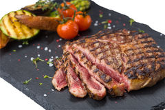 Steak rib-eye with grilled vegetables Stock Photo