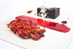 Steak Ribeye on white plate Stock Images