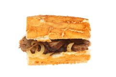 Steak roll isolated. Steak and onion roll isolated against white Stock Images