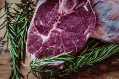 Steak and rosemary Royalty Free Stock Photos