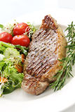 Steak and Salad. Grilled steak and salad, on white plate.  Mixed lettuce and spinach leaves and cherry tomatoes, with sprouts and other good healthy vegetables Royalty Free Stock Image