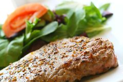 Steak and salad. Close up of a steak and salad Stock Images