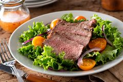 Steak Salad. A delicious steak salad with leaf lettuce, red onion and yellow tomatoes royalty free stock image