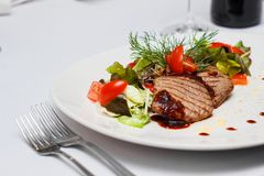 Steak salad with tomato, lettuce, cucmber and dill royalty free stock photography