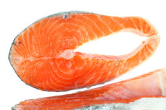 Steak salmon. Steak red salmon on a white background Royalty Free Stock Images