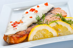 Steak from a salmon Royalty Free Stock Image