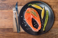 Steak Salmon with fresh ingredients Royalty Free Stock Images