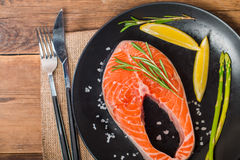 Steak Salmon with fresh ingredients Stock Photography