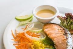 Steak salmon with fresh vegetable ingredients, herbs Top view Stock Photos