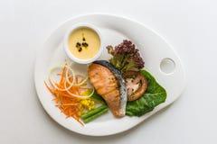 Steak salmon with fresh vegetable ingredients, herbs Top view Royalty Free Stock Photos