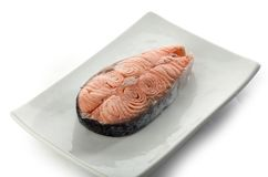 Steak of salmon on the plate Stock Image