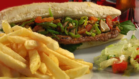 Steak sandwich Royalty Free Stock Images