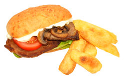 Steak Sandwich And Fries Stock Photo