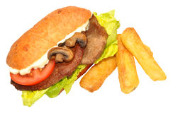 Steak Sandwich And Fries Royalty Free Stock Photos
