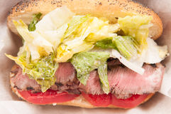 steak sandwich take out meal Stock Image