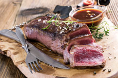 Steak with Sauce Stock Photo
