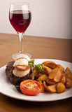 Steak & Scallops and Wine meal Stock Images