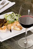 Steak and Seafood with Wine Stock Photo
