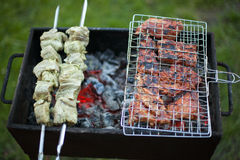 Steak and shish kebab. On brazier Stock Photos