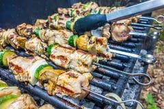 Steak shishkabob skewers  vegitables cooking on flaming gril Stock Image
