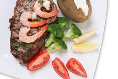 Steak and Shrimp Royalty Free Stock Photos