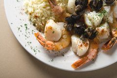 Steak, shrimps and rice Royalty Free Stock Photography