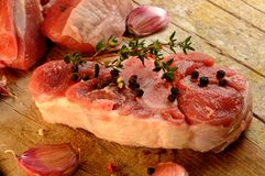Steak sirloin pork pieces raw meat Stock Photos