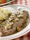 Steak Sirloin With Diane Sauce And Mash Potato Stock Photo