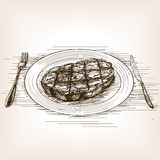Steak sketch style vector illustration Stock Image