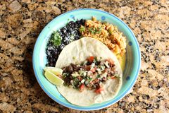 Steak soft taco with beans and rice Royalty Free Stock Images