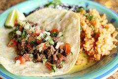 Steak soft taco with beans and rice Royalty Free Stock Image