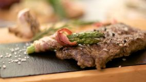 Steak and spices on wood. stock footage