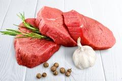 Steak. Raw meat beef strip  sirloin  white stock photo
