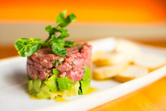 Steak Tartar with Avocado. Fine steak tartar with avocado stock photos