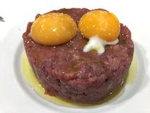 Steak tartar beef egg stock photo