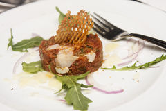 Steak Tartar with Fork Stock Photos