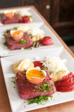 Steak tartar in preparation Royalty Free Stock Photos