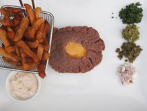 Steak Tartare. Is a French dish of raw beef Stock Image