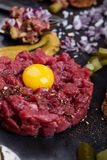 Steak tartare, gourmet delicacy raw meat starter Stock Images