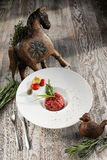 Steak tartare and raw egg Stock Photo