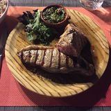 Steak for tea. Argentinian steak on holiday in Mallorca Royalty Free Stock Images