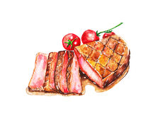 Steak u. Tomate Lizenzfreies Stockfoto
