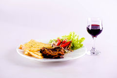 Steak und Getränk Stockfotos