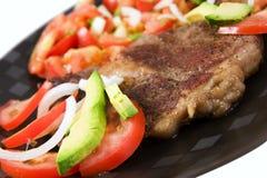 Steak- und Salatabendessen Stockfotos