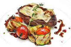 Steak with vegetables on the plate Stock Photo