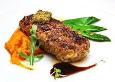 Steak with vegetables on the plate Royalty Free Stock Photo