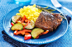 Steak with vegetables and rice dinner Royalty Free Stock Photography