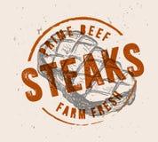 Steak with vintage stamp. Black steak symbol with vintage stamp vector illustration Royalty Free Stock Photo