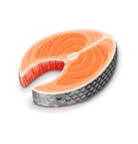 Steak von roten Fischlachsen für Sushi Stockbild