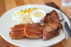 Steak in white disk soft light Stock Photography